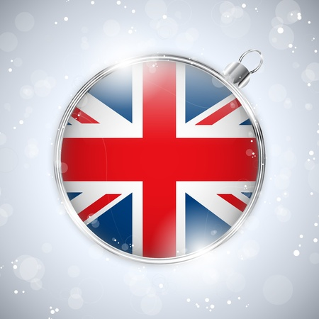 Merry Christmas Silver Ball with Flag United Kingdom UK Vector
