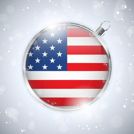 Merry Christmas Silver Ball with Flag USA Vector