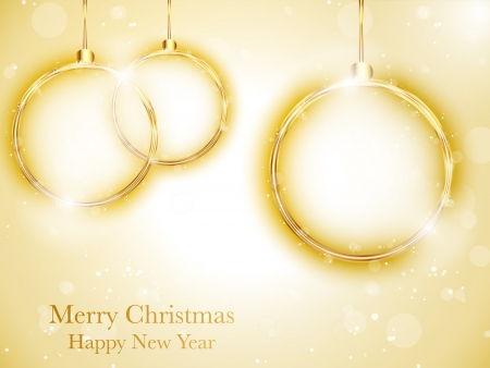 Merry Christmas Happy New Year Ball Golden with Stars and Snowflakes Vector