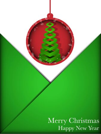 Merry Christmas Card Red and Green Envelope Vector