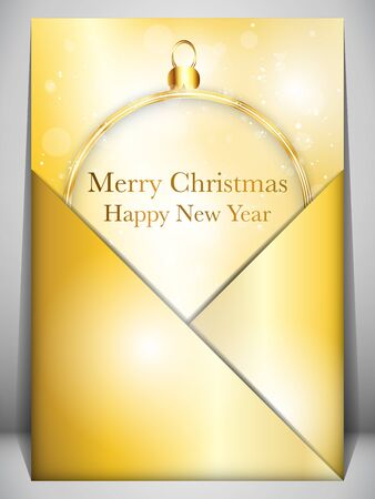 Merry Christmas Card Ball Gold Envelope Vector