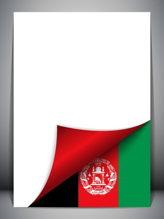 patriotic border: Afghanistan Country Flag Turning Page Illustration