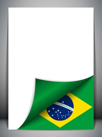 Brazil Country Flag Turning Page Vector