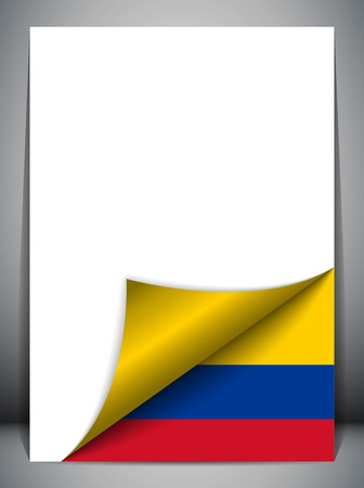 colombia flag: Colombia Country Flag Turning Page Illustration