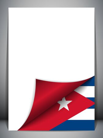 cuban: Cuba Country Flag Turning Page Illustration