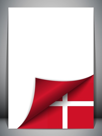denmark: Denmark Country Flag Turning Page