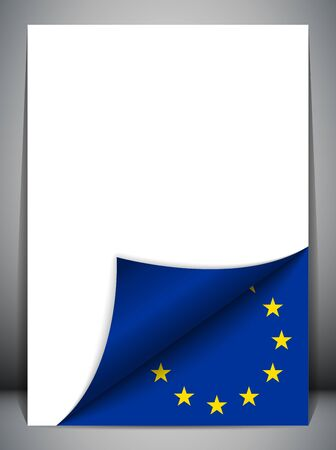 Europe Country Flag Turning Page Vector