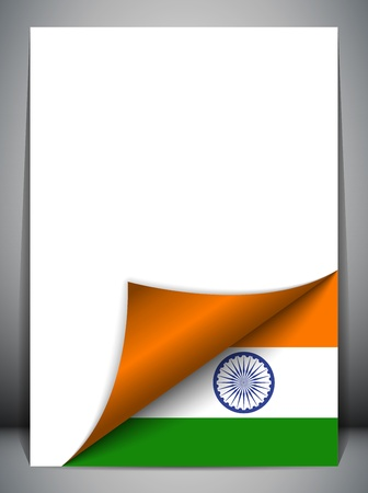 India Country Flag Turning Page Stock Vector - 16659336
