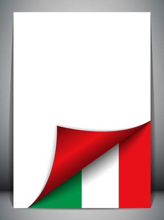 corner flag: Italy Country Flag Turning Page Illustration