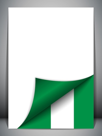 country nigeria: Nigeria Country Flag Turning Page Illustration