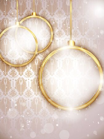 Merry Christmas Gold Balls with Retro Background Stock Vector - 16887861