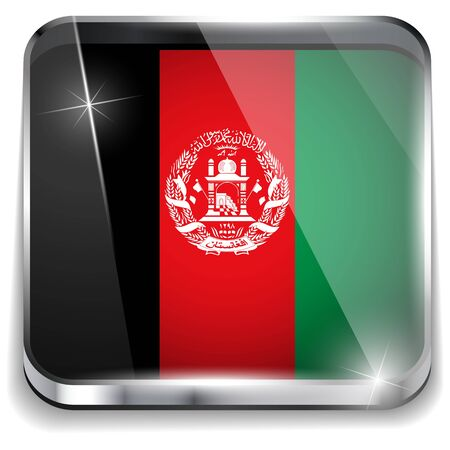 Afghanistan Flag Smartphone Application Square Buttons Vector