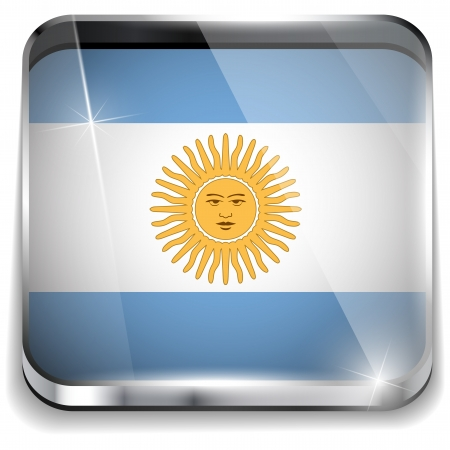 Argentina Flag Smartphone Application Square Buttons Vector
