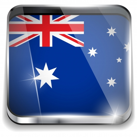 Australia Flag Smartphone Application Square Buttons Vector