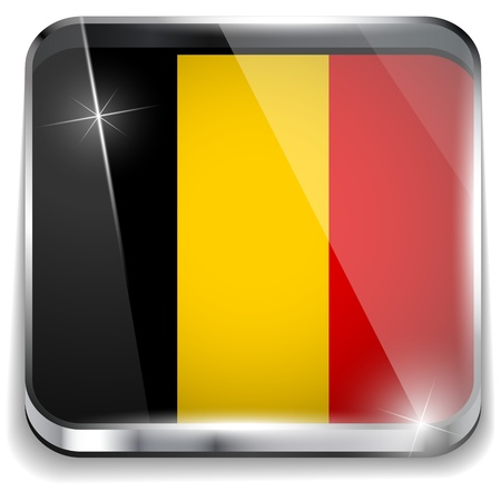 belgium flag: Belgium Flag Smartphone Application Square Buttons Illustration