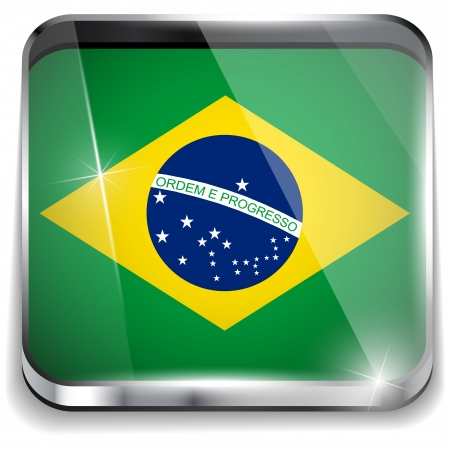 Brazil Flag Smartphone Application Square Buttons Stock Vector - 16887862