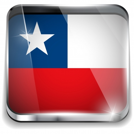 bandera de chile: Bandera de Chile botones de aplicaci�n Smartphone Square Vectores