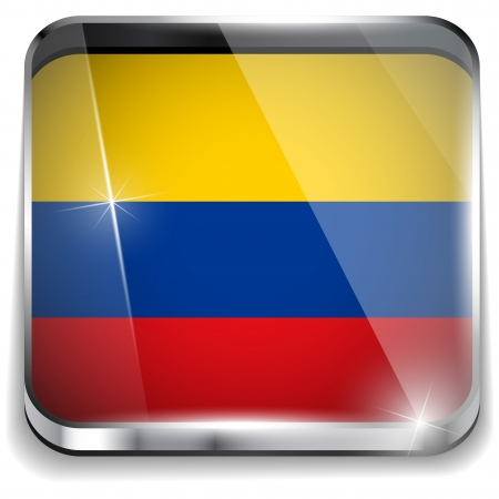Colombia Flag Smartphone Application Square Buttons Vector