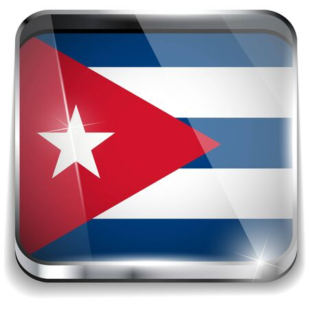 Cuba Flag Smartphone Application Square Buttons Stock Vector - 16887863