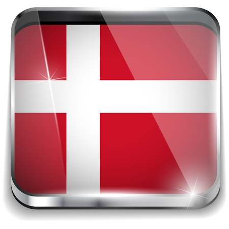 Denmark Flag Smartphone Application Square Buttons Stock Vector - 16887886