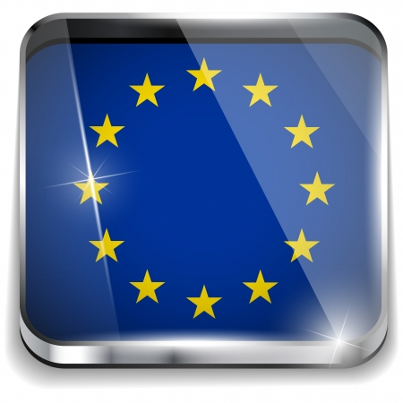 Europe Flag Smartphone Application Square Buttons Vector
