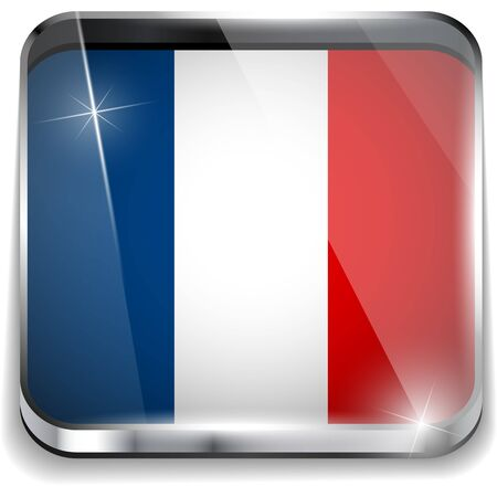 France Flag Smartphone Application Square Buttons Vector