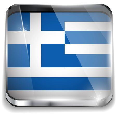 Greece Flag Smartphone Application Square Buttons Vector