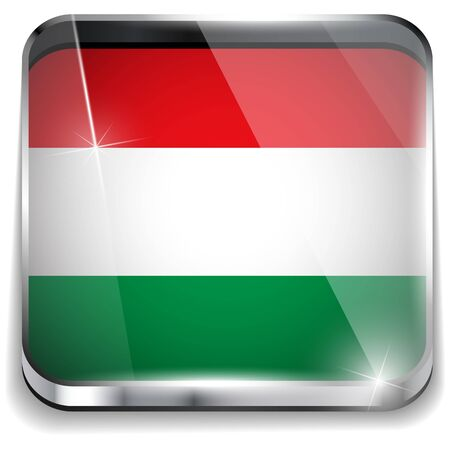 Hungary Flag Smartphone Application Square Buttons Vector