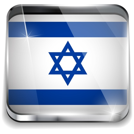 Israel Flag Smartphone Application Square Buttons Vector