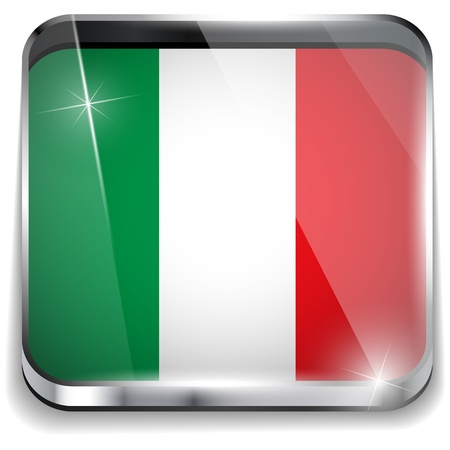 Italy Flag Smartphone Application Square Buttons Vector