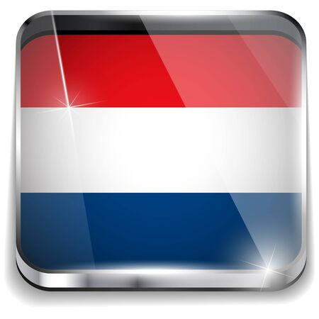 Netherlands Flag Smartphone Application Square Buttons Vector