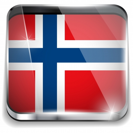 Norway Flag Smartphone Application Square Buttons Vector