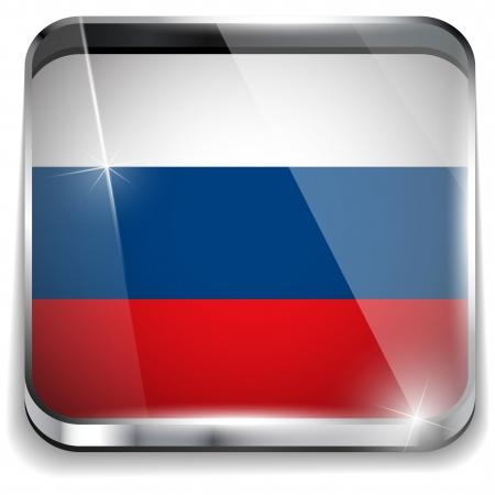 bandera rusia: Bandera de Rusia botones de aplicación Smartphone Square