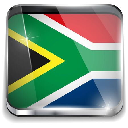 South Africa Flag Smartphone Application Square Buttons Vector