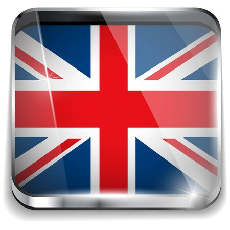 United Kingdom England Flag Smartphone Application Square Buttons Vector