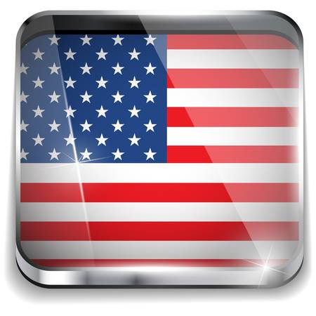 USA Flag Smartphone Application Square Buttons Vector