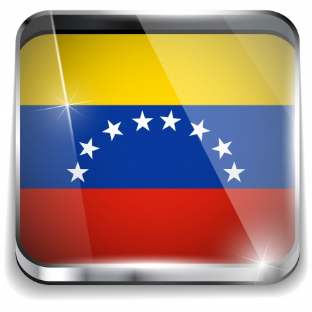 Venezuela Flag Smartphone Application Square Buttons Vector