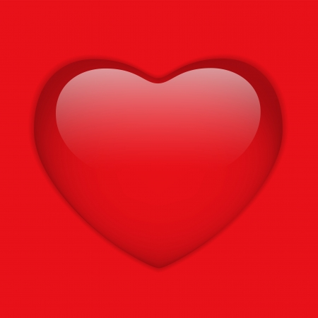 Glass Red Glossy Heart Vector