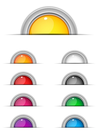 metal button: Vector - Set of 9 Colorful Glossy Buttons