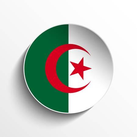 Vector - Flag Paper Circle Shadow Button Algeria Vector
