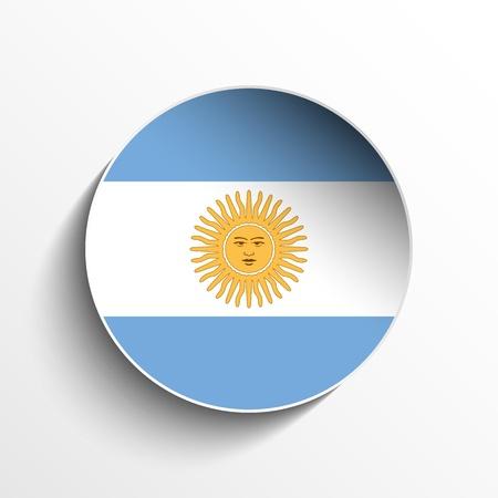 bandera argentina: Vector - Círculo de la bandera de papel Sombra Botón Argentina