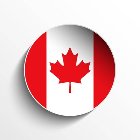 canadian flag: Vector - Flag Paper Circle Shadow Button Canada