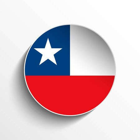 Vector - Flag Paper Circle Shadow Button Chile Vector