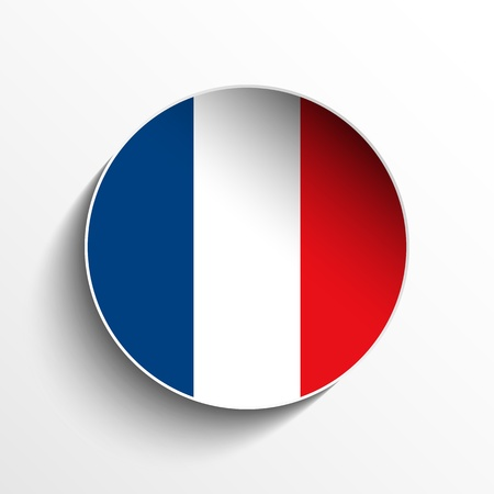 flag of france: Vector - Flag Paper Circle Shadow Button France