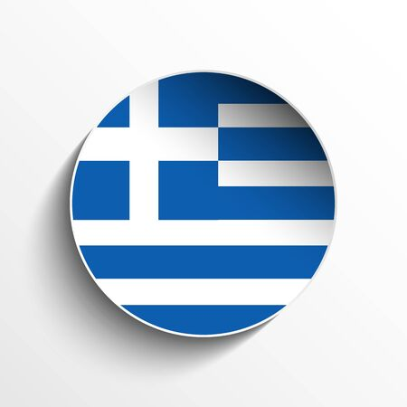 greece flag: Vector - Flag Paper Circle Shadow Button Greece