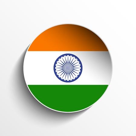 Vector - Flag Paper Circle Shadow Button India Stock Vector - 17190710