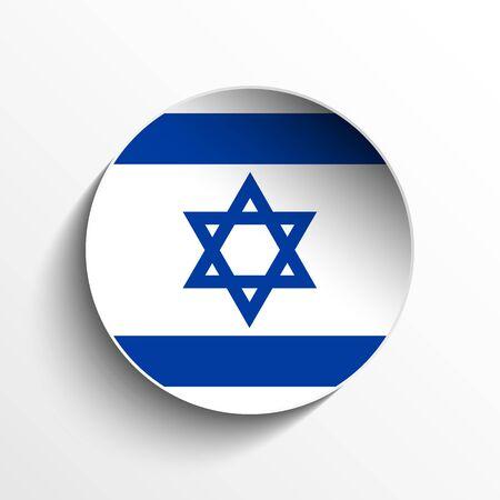 israel flag: Vector - Israel Flag Paper Circle Shadow Button Illustration
