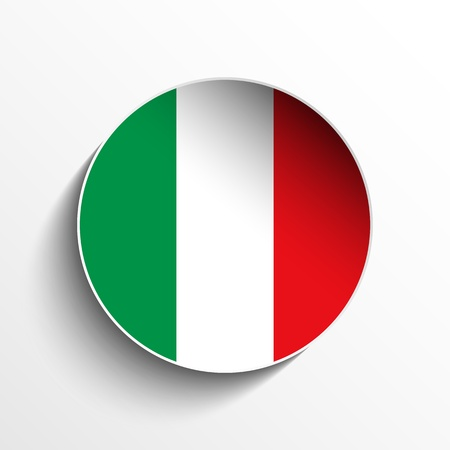 flag of italy: Vector - Flag Paper Circle Shadow Button Italy