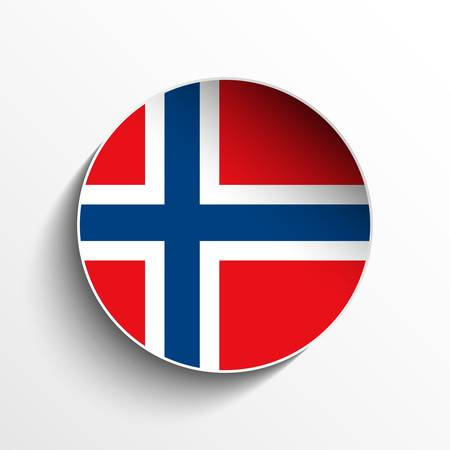 Vector - Flag Paper Circle Shadow Button Norway Stock Vector - 17190693