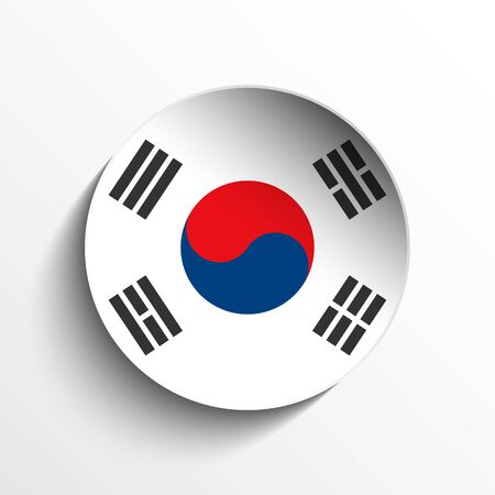 Vector - Flag Paper Circle Shadow Button South Korea Stock Vector - 17190705
